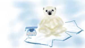 Eisbär auf Scholle scheitert am Schildern